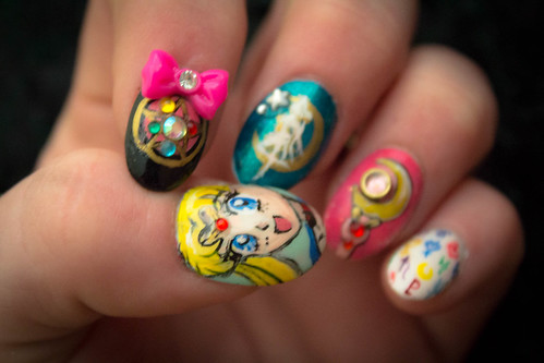 moon anime art nail sailor sailormoon usagi nailart