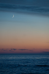 Moon over Lake Huron (Bryan N) Tags: sunset moon lake beach water rocks lakehuron macgregor provincalpark