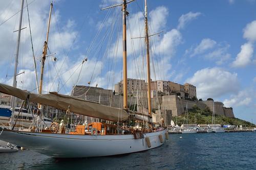 Classic boat in Calvi harbour (Corsica, France 2014)