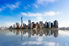 Manhattan Skyline, New York (Domi Art Photography) Tags: newyork ny nyc usa manhattan skyline sky clouds cityscape landscape reflection autofocus river hudson mer ocean sea water