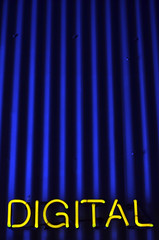 Digital photo (James_D_Images) Tags: yellow neon sign digital blue corrugated metal builiding wall shadows lines