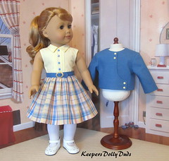 2pc. 1950s Spring outfit fits American Girl Doll (Keepersdollyduds) Tags: 1950s keepersdollyduds keepers jacket dress frock belt lined plaid maryellen 18 dollclothes