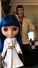 """Elvis??! For Realz?""  Tsuki meets the King. Life size Elvis statue at Java rock 50s cafe. ABE:Barbie coat"