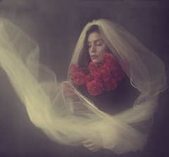 The Roses (Maren Klemp) Tags: fineartphotography fineartphotographer color vintage ethereal woman veil bride flowers roses darkart darkartphotography dreamy painterly expressive evocative texture nostalgic naturallight portrait selfportrait movement dream