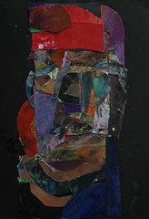 a head with a red beret (Kazuko Tsukioka) Tags: surface collage head red beret