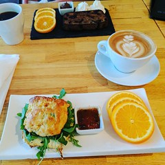 No trip back to Norfolk is complete without brunch and coffee at @cure_eats.❤️ And that my friends is a cheddar jalapeno biscuit with fried egg & a Nutella latte. (PTank Media Center) Tags: no trip back norfolk is complete without brunch coffee cureeats❤️ and that friends cheddar jalapeno biscuit with fried egg nutella latte