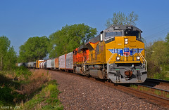 """Eastbound Manifest in Muncie, KS (""""Righteous"""" Grant G.) Tags: up union pacific railroad locomotive train trains east eastbound manifest freight kansas city subdivision emd tier iv four emissions"""