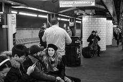 "Platform Audience (Santos ""Grim Santo"" Gonzalez) Tags: fttt instagram platform audience brookyn ny 2017 streetphotographer nycstreets newyorkcity newyorknewyork myfujifilm fujifilm picoftheday subway mta storyofthestreet nyspc gothamist citylife sooc queens heartofqueens grimsanto nyc urbanphoto quietmoments streetphotography nyclife flickr canpubphtoto urbanphotography monochrome"