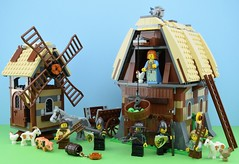 LEGO 7189 Mill Village Raid (Alex THELEGOFAN) Tags: lego legography minifigure minifigures minifig minifigurine minifigs minifigurines castle kingdoms 7189 mill village raid peasant farm barn animal animals pig chicken goat donkey horse coin gold knight cart villain