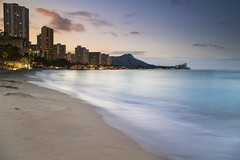 Waikiki Sunrise (andrewpmorse) Tags: hawaii waikiki oahu water longexposure sunrise ocean beach sand city dawn canon canon1635f4l leefilters leebigstopper lee06ndgradsoft buildings skyline paradise