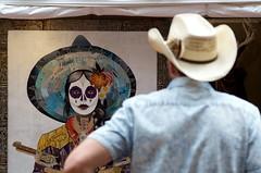 Face-off (dangr.dave) Tags: fortworth tx texas cowtown tarrantcounty panthercity downtown mainstreetartsfest mainstreetartsfestival muerto cowboyhat cowboy vaquera diadelosmuertos