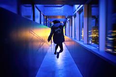 Feeling Blue (jgottlieb) Tags: blue hallway seattle south lake union mbar entrance yellow flash windows motion blur leica mp typ 240 35mm summilux fle