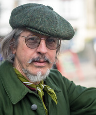 Stranger 375 - Cally (Andrew The Professor) Tags: glastonbury stranger cally inpursuitofspring edwardthomas claphamjunction bicycle journey cap hat moustache mustache glasses noreflector