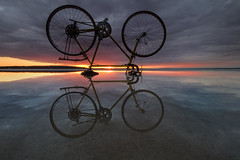 Its bicycle time (wiltsepix) Tags: higgins lake schwinn varsity bicycle sunset reflection michigan