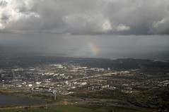 Rainbow in the distance (Vee living life to the full) Tags: sky cloud clouds blue storm rain rainbow colours amsterdam netherlands holland amstel canal river boat ship cargo tanker bridge land helicopterview birdseyeview distance marine marina fields patchwork airfield airport aeroplane carriers planes transport people network water treatment works landscape picture porthole view nikond300 2016 november holiday weekend travel tourism tourist placestovisit traveller pleasure flying flight