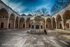Sahn - Avlu (`ARroWCoLT) Tags: courtyard mosque avlu sahn centralcourtyard riwaq marble fountain şadırvan hdr tonemapped bluesky canon 700d 1018mm
