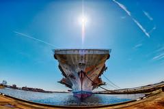 The bow of decommissioned aircraft carrier USS John F. Kennedy (ThruKurtsLens.com (Kurt Wecker)) Tags: 142428 abandoned d810 fisheye kurtwecker naturephotographer navy nikon thrukurtslenscom wildlifephotography
