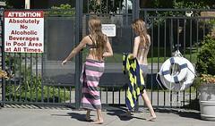 Leaving (swong95765) Tags: ladies women females swimmingpool bathingsuits towels exit leave leaving wet pool fence