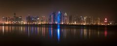 Doha! (aliffc3) Tags: doha qatar cityscape reflections nightshot panorama nikond750 nikon70200f4 skyscape skyscrapers tourism travel