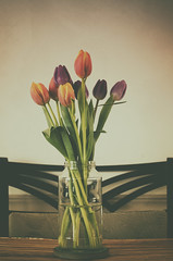 Table Setting (flashfix) Tags: march052017 2017inphotos ottawa ontario canada nikon nikond7000 40mm flowers tulips jars table stilllife floral water stems purple orange vintage