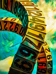 Let's do the Time Warp Again (Steve Taylor (Photography)) Tags: letsdothetimewarpagain art abstract digital sculpture colourful metal newzealand nz southisland canterbury christchurch cbd city texture cloud sky numbers passingtime antonparsons