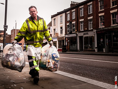 Garbage Day (BigRedTroll) Tags: candid collection color job man people portrait rubbish street streetphotography walking work worker yellow