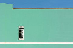 Green wall, white stripe (on Explore) (Jan van der Wolf) Tags: map167343vve wall muur crucedearinaga grancanaria blue green groen stripe window raam minimalism architecture architectuur streep facade gevel lines lijnen bluegreen teal tealblue