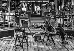 Empty Chair (jshyshka) Tags: cartoonists eyes pier39 sanfrancisco shoes fujixpro2 unreal chair cartoon painter merrygoround woodfloor