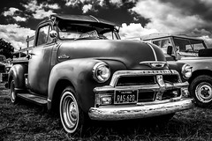 Chevy Pick Up (aquanout) Tags: car vehicle transport blackandwhite monochrome clouds wheels tyres chevrolet