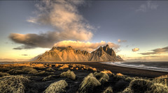 The View from the Dunes (Nick L) Tags: dawnlight dawn landscape clouds dunes blacksand vestrahorn vesturhorn stokksnes stokkness stokknes kambhorn litlahorn iceland hofn eastofhofn
