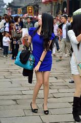 blue dress and strong (2) (Steven pan 8) Tags: girls sexy girl beautiful beauty asian pretty legs skirt hotgirls pantyhose asiangirl hotgirl chinesegirl asianbeauty