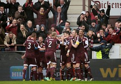 9789839 (Heart of Midlothian) Tags: hearts landscape football fulllength celebration sns fans hibs hibernian heartsvhibs heartsvhibernian edinburghderby 20132014 scottishpremiership 14033003