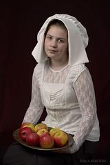 Miss L. (.MARTINE.) Tags: girl fruit studio lace apples vermeer bonnet rembrandt youngwoman martine appels strobist nikond800 nikonsb910speedlight bonnetmadebyme