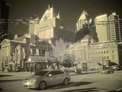 P1020658 Vancouver downtown infrared (anthonymaw) Tags: winter urban canada motion car vancouver speed automobile downtown driving infrared
