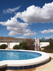 By the pool (ExeDave) Tags: sky holiday pool clouds swimming garden golf skyscape landscape spain resort course murcia villa april 2014 mosatrajectum p4058985