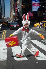 ToTo on the GoGo (bytegirl24) Tags: street nyc newyorkcity rabbit balloons manhattan clown balloon timessquare crosswalk clowntoto