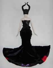 Redressing Disney Film Collection Maleficent 12'' Doll in Designer Maleficent's Outfit - Disney Store - Lying Down - In Designer Dress - Full Rear View (drj1828) Tags: us outfit dressing staff disneystore 12inch maleficent 1112inch disneyvillainsdesignercollection disneyfilmcollection disneymaleficent swappingoutfits