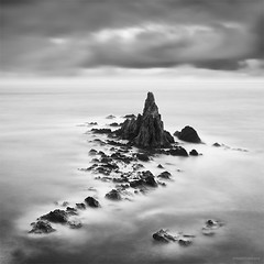 Song of Sirens (DavidFrutos) Tags: longexposure sunset sea bw costa naturaleza seascape beach nature water monochrome rock clouds square landscape atardecer monocromo coast mar agua rocks fineart playa paisaje bn minimal filter le lee nubes minimalism minimalismo canondslr almera cabodegata roca rocas 1x1 waterscape filtro largaexposicin filtros naturalpark parquenatural neutraldensity arrecifedelassirenas canon1740mm gnd8 graduatedneutraldensity densidadneutra davidfrutos 5dmarkii niksilverefexpro bwnd8 singhraygnd09 hitechnd64