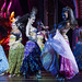 Ladyboys in colorful costumes performing on stage at the Alkazar Cabaret in Pattaya-47