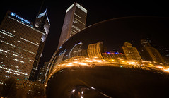 Magnificent Mile Mirrored (Darren Berg) Tags: chicago reflection night bean chicagobean explored