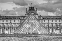 The Louvre (gary8345) Tags: blackandwhite bw paris france french pyramid louvre 123 83 hdr 2014