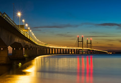 Crossing at Night (petefoto) Tags: longexposure blue red night reflections river lights atmosphere coastal filters beacon avon foreshore severnbridge severnbeach secondseverncrossing nikond700 leefilters09sgrad homson