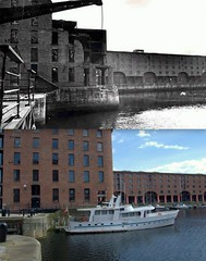 Albert Dock, 1940s and 2014 (Keithjones84) Tags: liverpool thenandnow merseyside oldliverpool