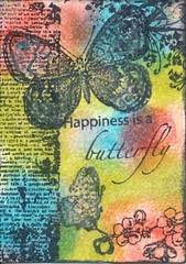 Happiness is a butterfly (craftychicky101) Tags: art atc cards artist handmade card trading trade swapbot