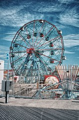 Brooklyn Ny ~ Coney Island ~ Wonder Wheel ~ My Old 35mm film (Onasill ~ Bill Badzo) Tags: old nyc vacation sky ny film beach wheel brooklyn vintage wonder fun island landmark ferris historic boardwalk historical coney 1920 attraction vinatge nrhp