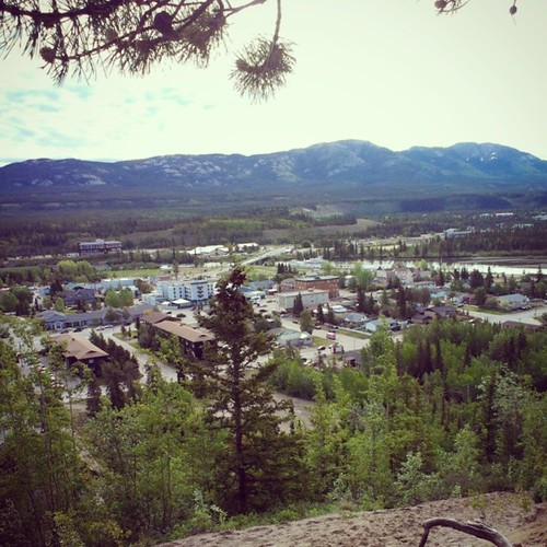 View over Whitehorse #yxy from the cliffs, valley carved by #Yukon River