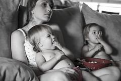 Popcorn Time (donnierayjones) Tags: girls baby girl mouth movie mom twins toddler babies mother twin diaper couch lap snack stuff popcorn toddlers diapers clothdiapers