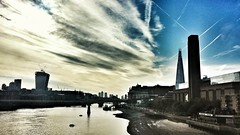 London (huzFlicks) Tags: london thames clouds sunrise canarywharf shard riverthames hdr walkietalkie samsungs4