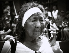 2014-07-20_08-58-17 (Leisure Steve) Tags: street old woman phone native elder tradition