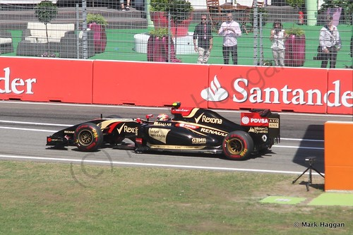 Pastor Maldonado in his Lotus during Free Practice 2 at the 2014 German Grand Prix